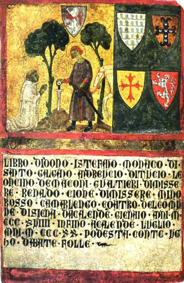 Il tesoriere Don Niccolò, monaco di San Galgano, contando i soldi, biccherna painting