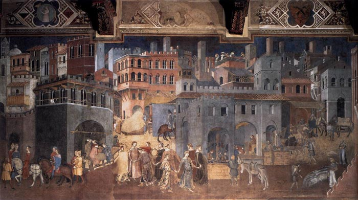 Sala Dei Nove Good Government.Ambrogio Lorenzetti Allegory And Effects Of Good And Bad