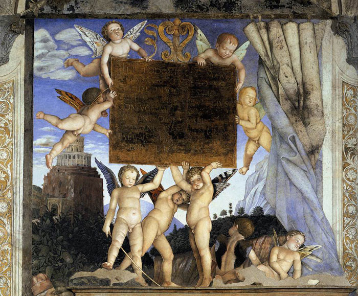 Andrea mantegna affrescchi nel palazzo ducale in mantua for Camera picta mantegna