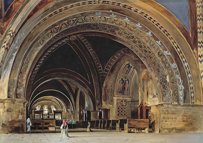 Thomas Hartley  Cromek(1809-73), The Interior of the Lower Basilica of St. Francis of Assisi, 1839 (w/c & gouache with gum arabic), watercolour and gouache with gum arabic; info.: Basilica of San Francesco, Assisi