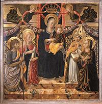 Benozzo Gozzoli, Madonna con Bambino, due angeli e i santi Maria Maddalena, Giovanni Battista, Agostino e Marta, tempera su tavola, 1466- 1467