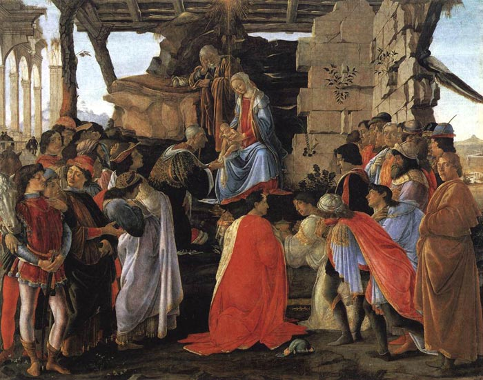 What are the colors in the adoration of the magi by boticelli