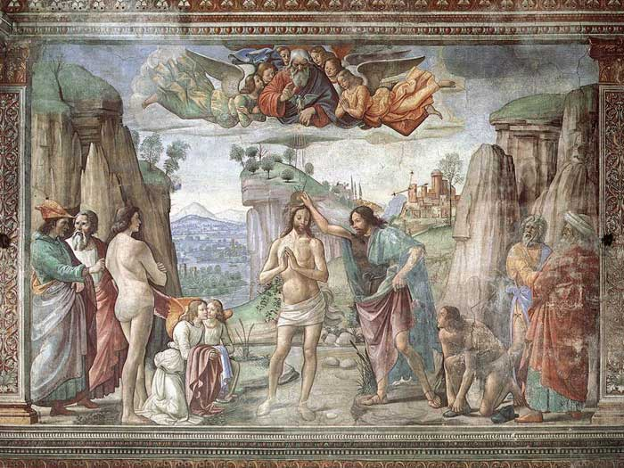 Domenico Ghirlandaio, Baptism of Christ, fresco in the Cappella Tornabuoni, Santa Maria Novella, Firenze