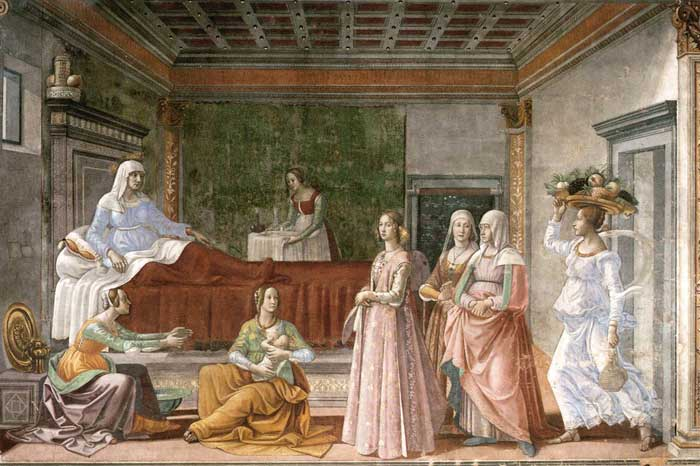 Domenico Ghirlandaio, The Birth of the Baptist, fresco in the Cappella Tornabuoni, Santa Maria Novella, Firenze