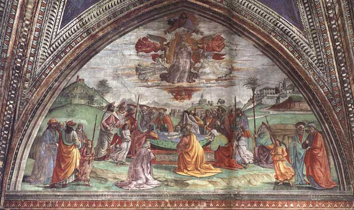 Domenico Ghirlandaio, The Death and Assumption of the Virgin, fresco in the Cappella Tornabuoni, Santa Maria Novella, Firenze