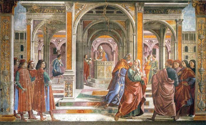 Domenico Ghirlandaio, The Expulsion of Joachim from the Temple, fresco in the Cappella Tornabuoni, Santa Maria Novella, Firenze