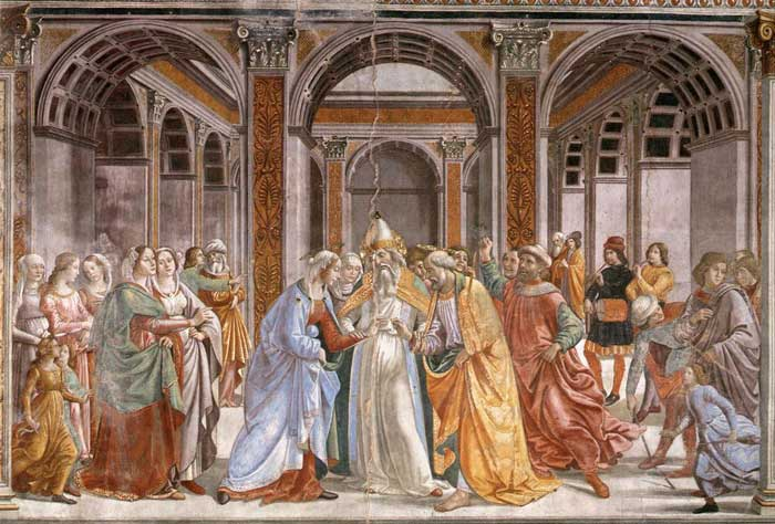Domenico Ghirlandaio, The Marriage of the Virgin, fresco in the Cappella Tornabuoni, Santa Maria Novella, Firenze