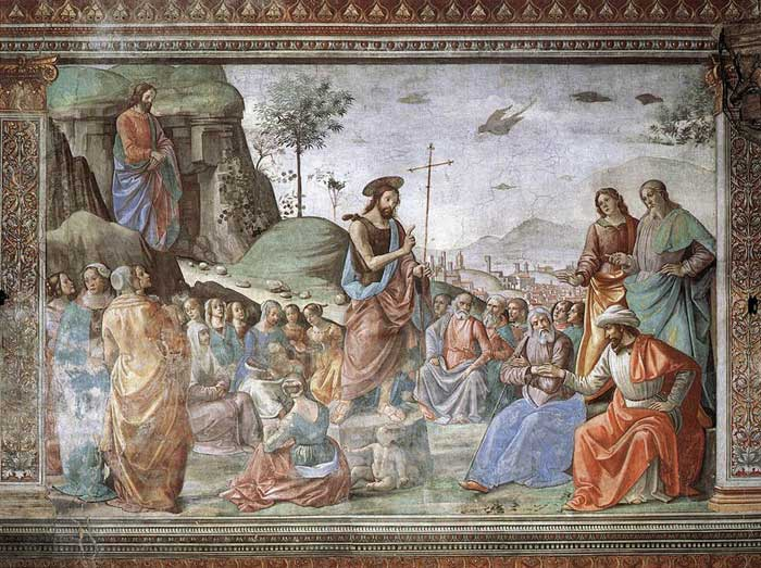 Domenico Ghirlandaio, Predication of the Baptist, fresco in the Cappella Tornabuoni, Santa Maria Novella, Firenze