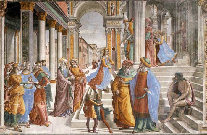 Domenico Ghirlandaio, The Presentation at the Temple, fresco in the Cappella Tornabuoni, Santa Maria Novella, Firenze
