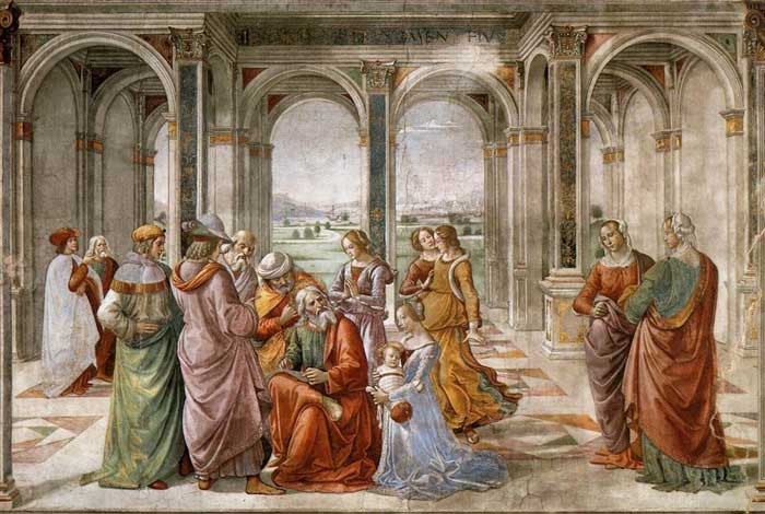 Domenico Ghirlandaio, Zechariah Writes John's Name, fresco in the Cappella Tornabuoni, Santa Maria Novella, Firenze