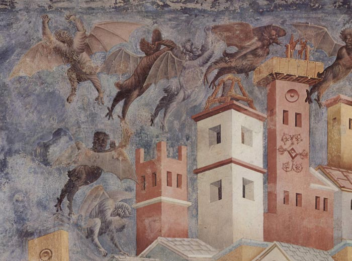 Giotto di Bondone, The Expulsion of the Devils from Arezzo (detail)