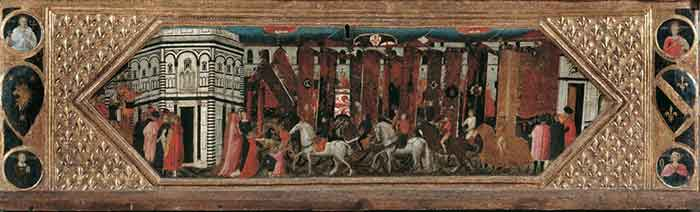 The offering of palio banners of St John, ca 1429, painting by Giovanni di Francesco Toscani (ca 1370-1430) on Florentine manufactured strongbox, Italy, 15th century