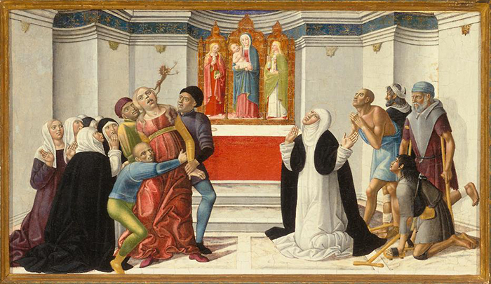 Girolamo di Benvenuto (1470–1525), St. Catherine of Siena Exorcising a Possessed Woman, circa October 1500, Denver Art Museum
