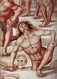 Luca Signorelli, Resurrection of the Flesh(detail), 1499-1502, fresco, Chapel of San Brizio, Duomo, Orvieto