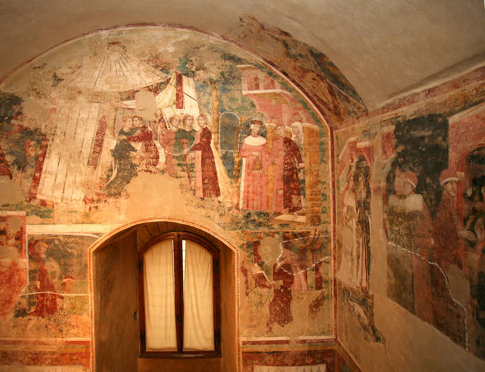 Memmo di Filippuccio, Frescoes with matrimonial scenes (before the restauration), Palazzo del Podestà, San Gimignano