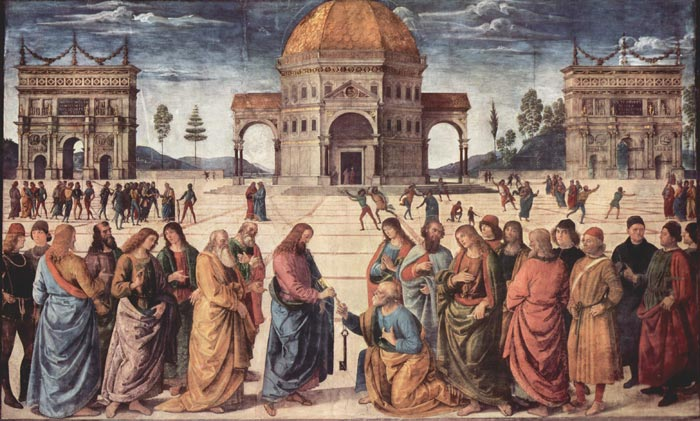 Il Perugino, Christ Handing the Keys to St Peter, Cappella Sistina, Vatican, Rome
