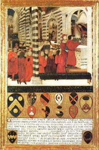 Andrea di Niccolò (?), L'unione delle classi e l'offerta delle chiavi della città alla Virgine