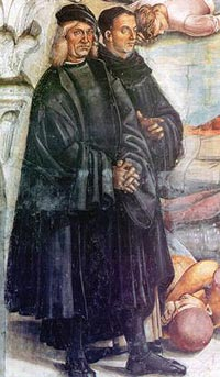 Luca Signorellli, self portrait (on the left) with Fra Angelico i