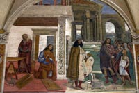 Il Sodoma, self portrait in one of the frescoes at Monte Olivetto