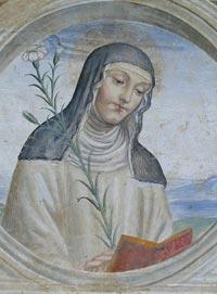 Il Sodoma, Santa Caterina da Siena. Dett. della decorazione. 1503-04. Affresco. Monastero di sant'Anna in Camprena