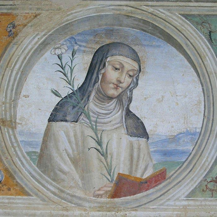 Monastero di Sant'Anna in Camprena, refettorio. Il Sodoma, Santa Caterina da Siena. Dett. della decorazione. 1503-04. Affresco. Monastero di Sant'Anna in Camprena.