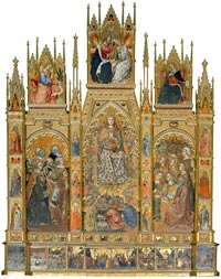 Assumption of the Virgin triptych painted by Taddeo di Bartolo