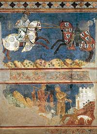 Sala di Dante, Museo Civico, San Gimignano. Azzo di Masetto, Tournament and Hunting Scenes (1289)