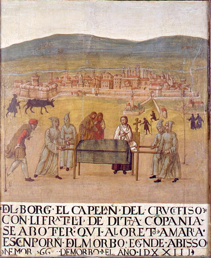 Giovanni del Leone, votive panel of the Compagnia del Crocifisso - Pilgrimage of the Compagnia del Crocifisso in Loreto during the plague of 1523,3, 68 x 57,5 cm, 16th century, panel with view of Sansepolcro, Museo Civico, Sansepolco