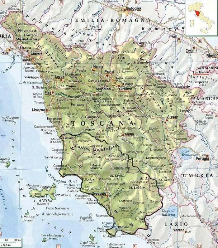 Fiumi Toscana Cartina.La Maremma Toscana Guida Per La Toscana
