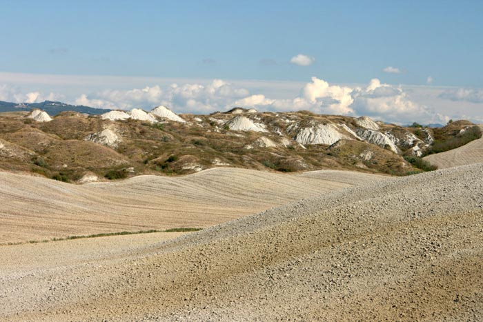 Crete Senesi, Biancane hills in the badlands of Accona Desert